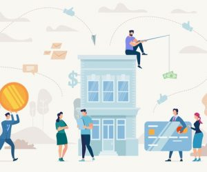 Consumer Loan, Financing Small Business, Startup Investment Flat Vector Concept. Entrepreneur with Tablet Standing near Bank Building, Banker and Financial Advisers Trying to Catch Client Illustration