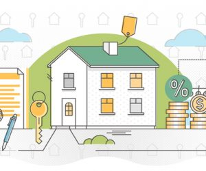 Mortgage vector illustration. Outlined estate purchase banking process. Obligation financial payment method with house, residence or building. Symbolic credit agreement for real estate deal process