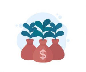 Money bag, income growth, project financing, investing concept, vector icon